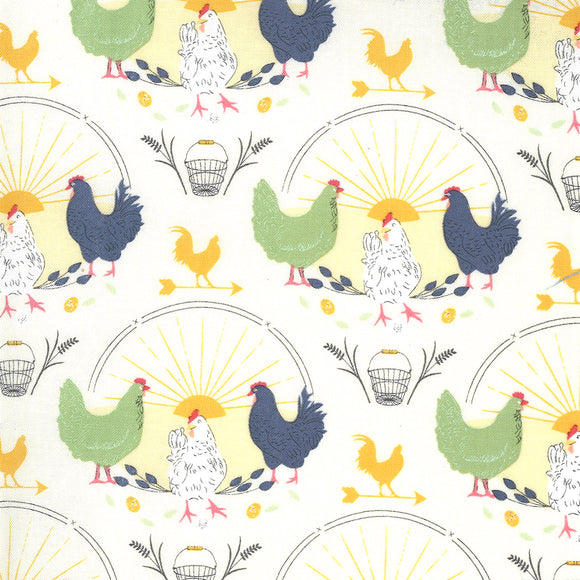 BREAK OF DAY 43100 11 Ivory Chickens Sweetfire Road MODA