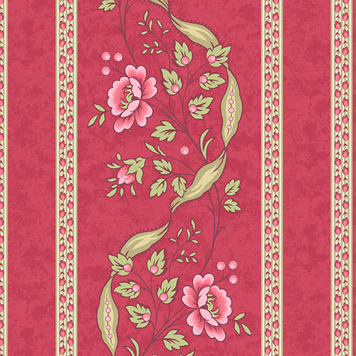 ARBOR ROSE A 7781 R Wallpaper Stripe Cherry Red Renee Nanneman Andover