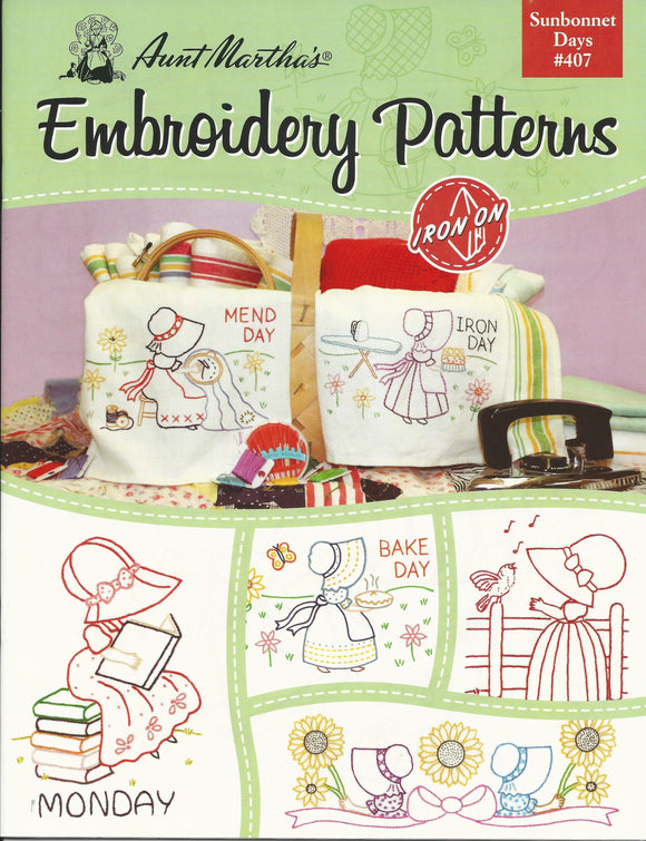 AUNT MARTHA B407 SUNBONNET DAYS Embroidery Patterns Aunt Martha