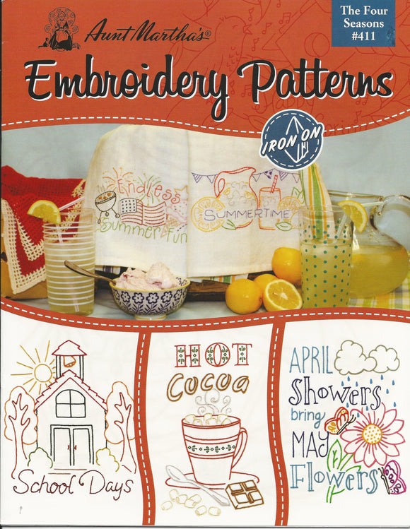 AUNT MARTHA AM411 THE FOUR SEASONS Embroidery Patterns