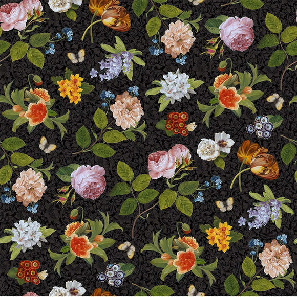 COVENT GARDEN dp23810 99 Tossed Floral Black Northcott