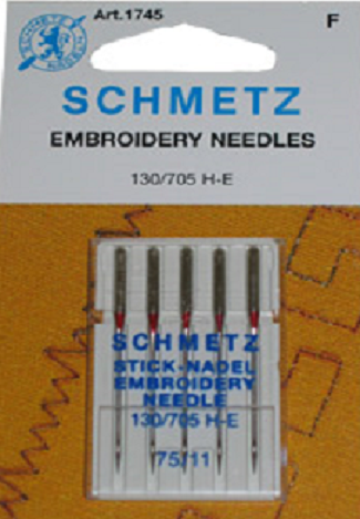 SCHMETZ NEEDLES 1745 Embroidery Size 11/75 Sewing Machine