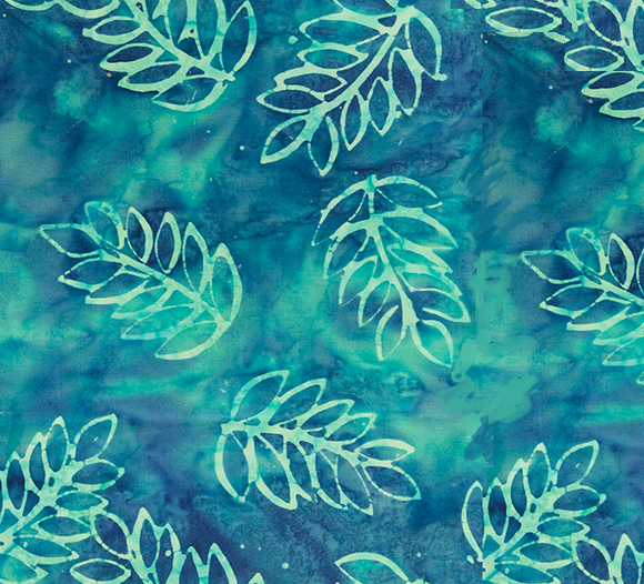 BOHO BEACH BATIKS 80211 64 Palm Fronds Teal Banyan Batiks