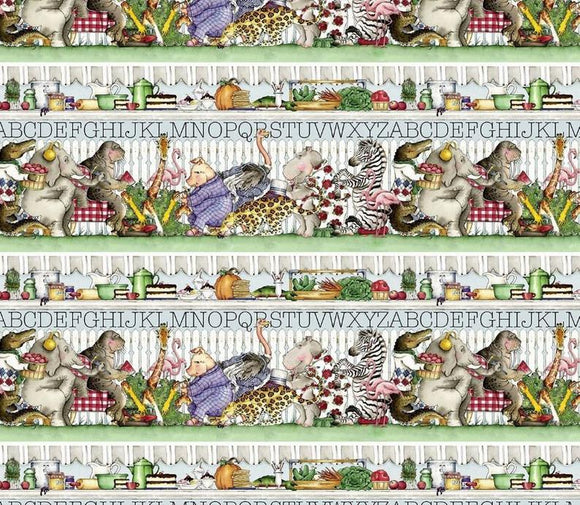 HUNGRY ANIMAL ALPHABET c10181 Border Stripe J Wecker Frisch Riley Blake