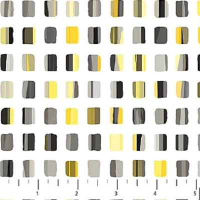 PAINTERS PALETTE 20503 94 Squares Black & Yellow Deborah Edwards Artisan Spirit Northcott