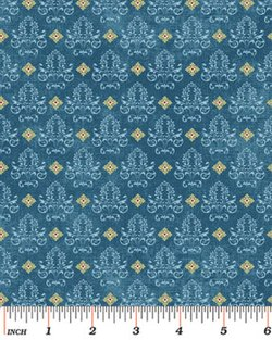 BIRDS OF A FEATHER 0468 55 Damask Blue Bristal Bay Benartex