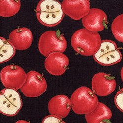 COMING HOME 19504-15 Apples Rooftop Black Deb Strain MODA