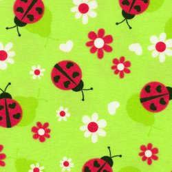 LADY BUGS FLANNEL 140 1072 Lady Bugs Green Fabri-Quilt