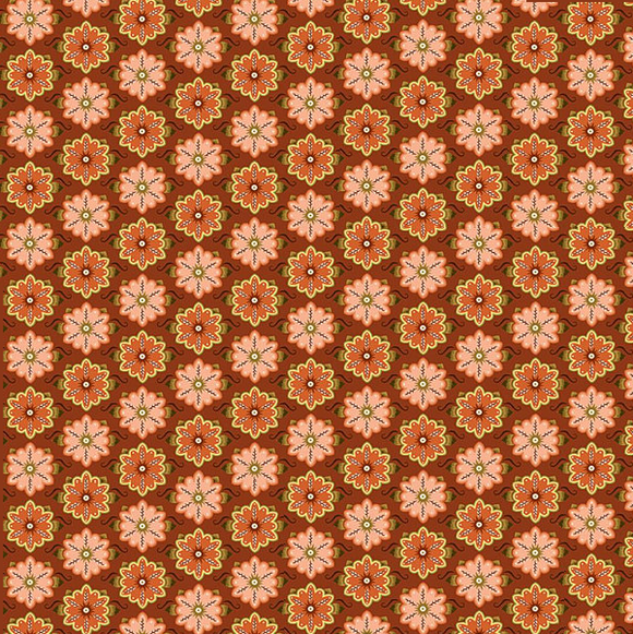 WILLOW 26124 O Orange Damask Metallic Quilting Treasures