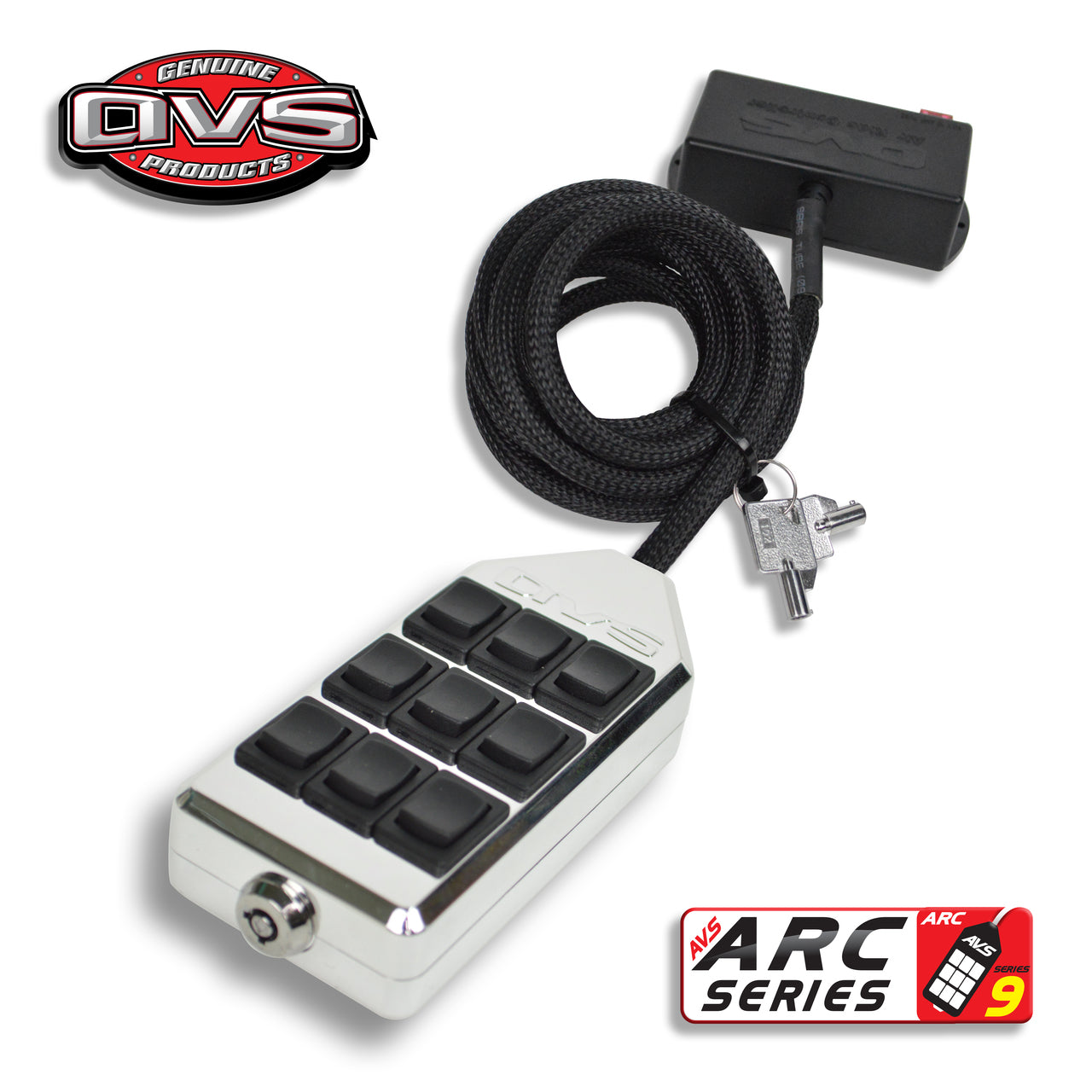 AVS 9 Rocker Switch Box Billet Chrome