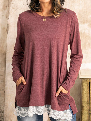 Casual Crew Neck Lace Paneled Cotton-Blend Shirts & Tops Tunics