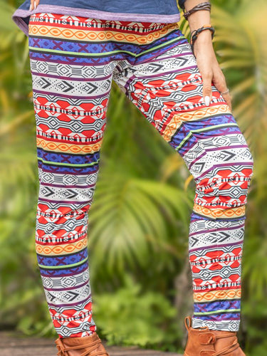 Knitted Tribal Vintage Pants Stretchy Leggings