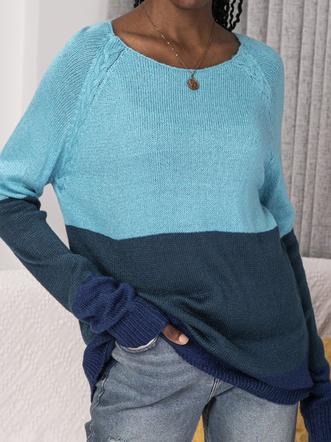 Long Sleeve Color-Block Casual Sweater