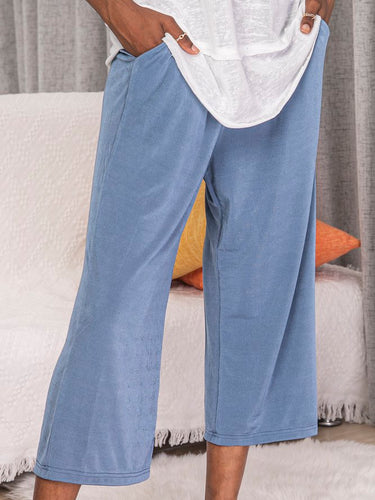 Blue Knitted Casual Pants
