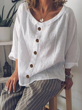 Load image into Gallery viewer, Peter Pan Collar Buttoned Casual Cotton-Blend Shirts & Tops