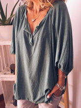 Load image into Gallery viewer, Plus Size V Neck Half Sleeve Plain Blouse