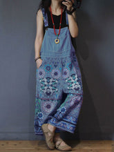 Load image into Gallery viewer, Sleeveless Denim Floral-Print Jumpsuit