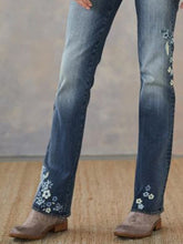 Load image into Gallery viewer, Denim Floral Embroidered Vintage Pants