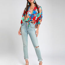 Load image into Gallery viewer, Flower V Neck Floral Sexy Shirts & Tops
