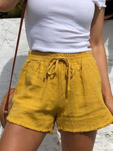 Load image into Gallery viewer, Summer Drawstring Solid Linen Casual Shorts