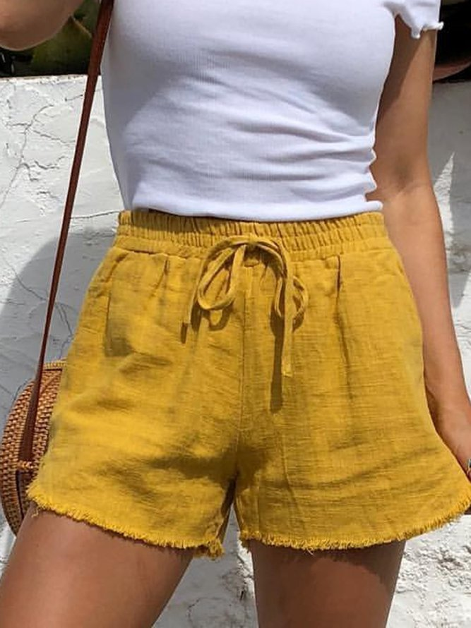 Summer Drawstring Solid Linen Casual Shorts