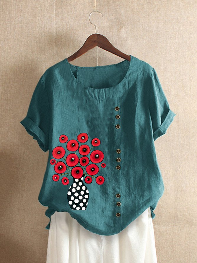 Casual Floral Short Sleeve Crew Neck Shirts & Tops
