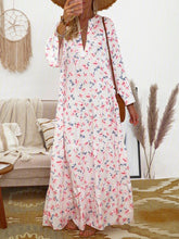 Load image into Gallery viewer, Floral Frill Sleeves V-Neck Paneled Maxi Dresses