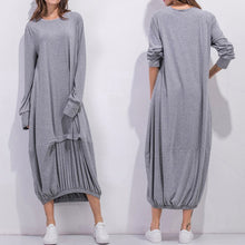 Load image into Gallery viewer, Cocoon Women Daily Cotton Long Sleeve Casual Paneled Plain Spring Dress