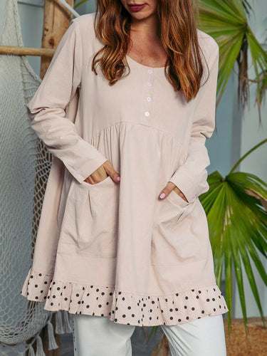 Crew Neck Shift Polka Dots Long Sleeve Shirts & Tops
