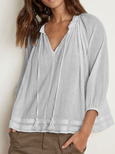 Load image into Gallery viewer, Cotton 3/4 Sleeve V Neck Shirts & Tops