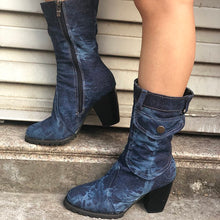 Load image into Gallery viewer, Mid-rise chunky with casual denim booties