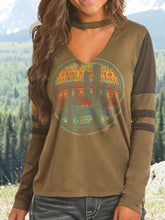 Load image into Gallery viewer, Army Green Printed Round Neck Cotton-Blend Long Sleeve Shirts & Tops