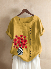 Load image into Gallery viewer, Casual Floral Short Sleeve Crew Neck Shirts & Tops