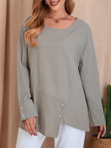 Warm Grey Long Sleeve Shift Casual Shirts & Tops