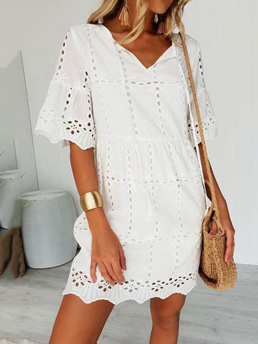 White Holiday Lace Half Sleeve Dresses