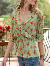 Load image into Gallery viewer, Women Frill Sleeve Floral V Neck Top
