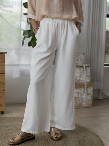 White Solid Shift Cotton Casual Pants