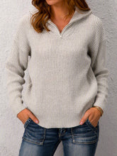 Load image into Gallery viewer, Plus Size Long Sleeve Plain V Neck Casual Sweater