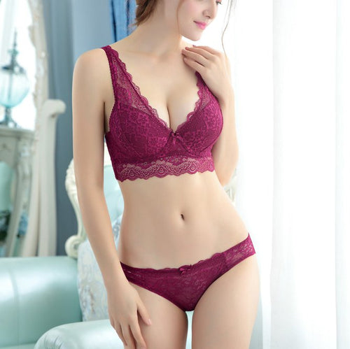 Angelvic Fashion Soft Lace Padding Underwire Bra Set