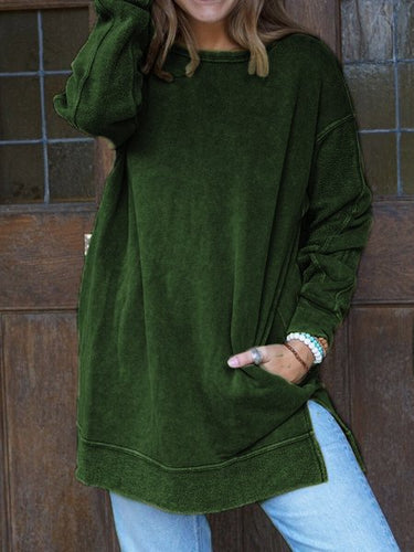 Army Green Cotton-Blend Solid Crew Neck Long Sleeve Shirts & Tops