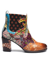 Load image into Gallery viewer, Flower Winter Block Heel Pu Daily Boots