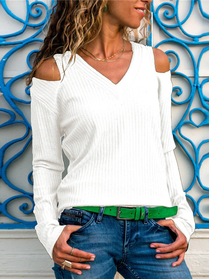 V Neck Cut-out Shoulder Knit Top