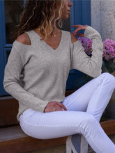 Load image into Gallery viewer, V Neck Cut-out Shoulder Knit Top