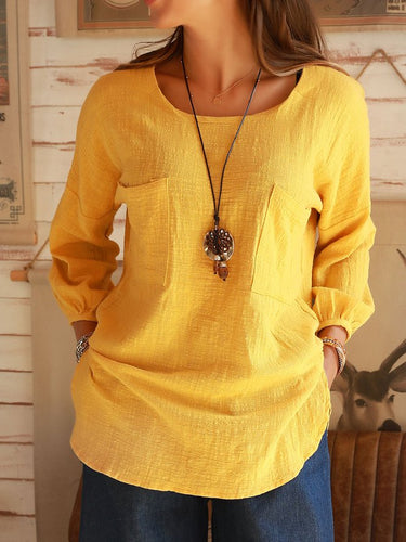 Yellow Cotton Crew Neck Long Sleeve Shirts & Tops