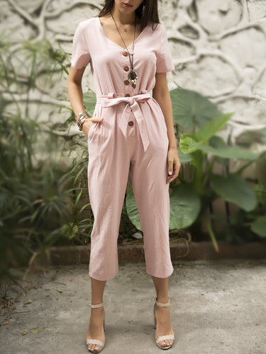 Dusty Pink Cotton Casual Jumpsuits With Belt