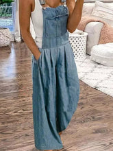 Load image into Gallery viewer, Sleeveless Square Neck Solid Denim Pants