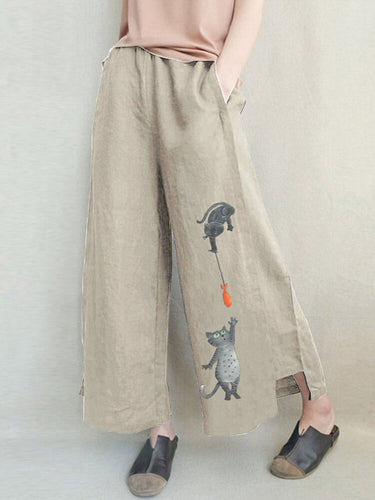 Animal Cotton-Blend Casual Pants