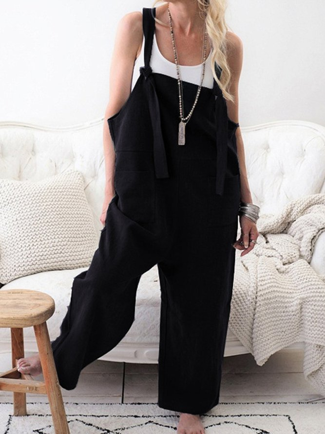 Pockets Casual Solid Jumpsuits
