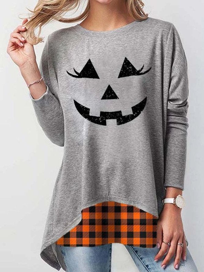 Gray Casual Crew Neck Cotton Halloween Shirt & Top