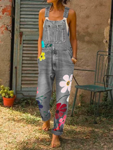 Load image into Gallery viewer, Women Summer Sleeveless Denim Floral-Print Jumpsuits